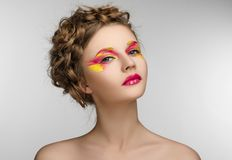 Red yellow Makeup Beauty Girl Stock Photo