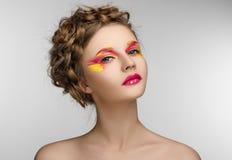 Red yellow Makeup Beauty Girl Stock Photo