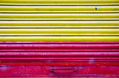 Red and yellow metal door background Stock Photo