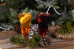Red and yellow mulled wine Stock Photo