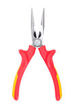 Red-yellow narrow pliers Royalty Free Stock Image