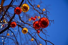 Red and yellow New-Year tree decorations Royalty Free Stock Photos
