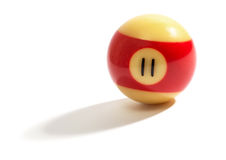 Red and yellow number 11 snooker ball Stock Photography
