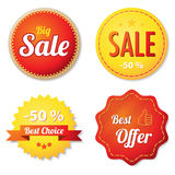 Red and yellow offer labels Royalty Free Stock Image