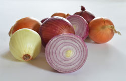 Red and yellow onions Royalty Free Stock Image
