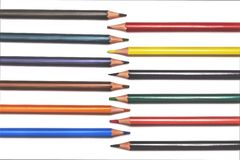 Red,yellow,orange pencils isolated on white background royalty free stock image