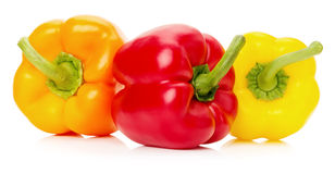 Red, yellow and orange peppers isolated on the white background Stock Photos