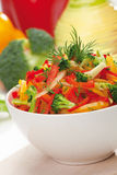 Red, yellow and orange sweet pepper, broccoli and fennel salad Royalty Free Stock Image