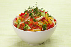 Red, yellow and orange sweet pepper, broccoli and fennel salad Stock Image