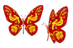 Red yellow paint made butterfly set. Two positions Royalty Free Stock Photos