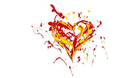 Red yellow paint plash made heart Royalty Free Stock Images