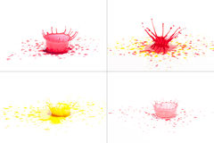 Red and yellow paint splashing on white. Royalty Free Stock Image