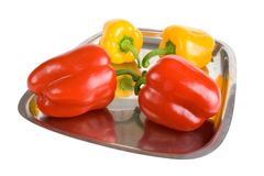 Red and yellow paprikas Royalty Free Stock Images