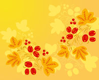 Red - yellow pattern in the Khokhloma style. Royalty Free Stock Photography