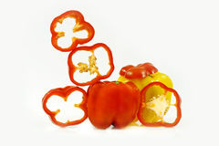 Red and yellow pepper. Red and yellow sweet pepper for dietary salad Royalty Free Stock Image