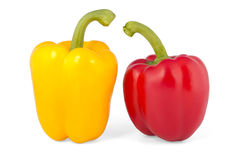 Red and yellow pepper. Isolated on a white background Royalty Free Stock Images