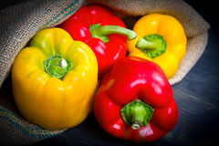 red and yellow pepper on burlap sack Royalty Free Stock Photos