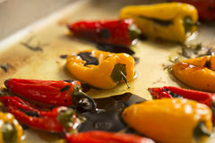 Red and yellow pepper. Fried in oil stock image