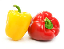 Red and yellow pepper vegetables isolated Stock Photos