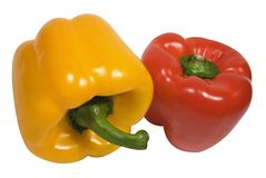 Red and Yellow Pepper w/ Path Royalty Free Stock Images