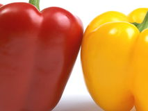 Red and yellow peppers. A pair of red and yellow peppers Royalty Free Stock Photo