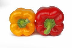 Red and yellow peppers. Isolated over white background Stock Photo