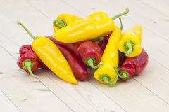 Red and yellow peppers Stock Photo