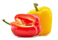 Red and yellow peppers isolated Royalty Free Stock Photography