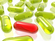 Red and yellow pills. On white background Stock Images