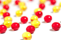 Red and yellow pills Royalty Free Stock Image