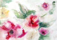 Red yellow and pink abstract flowers and leaves. Abstract flowers on a blurry light background, painted by hand in watercolor royalty free illustration