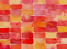 Red yellow and pink watercolor abstract painting Royalty Free Stock Photos