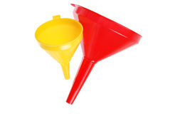 Red and yellow plastic funnel on white Royalty Free Stock Image