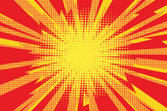 Red yellow pop art retro background cartoon lightning blast radi Stock Photography
