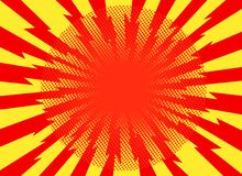 Red yellow pop art retro background cartoon lightning blast radi. Ance vector illustration - stock vector Royalty Free Stock Images