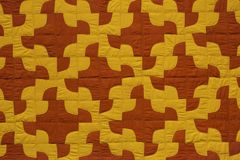 Red yellow quilt detail stock photo