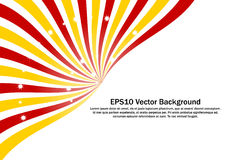 Red, Yellow Radial Sunburst with sparkling stars vector background. Royalty Free Stock Photo