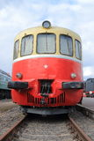Red and yellow railbus. Front view Royalty Free Stock Photo