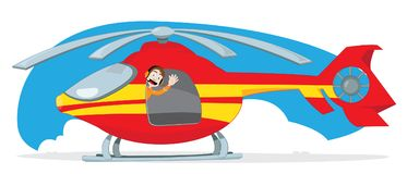 Red and yellow rescue helicopter driven by a funny and friendly pilot cheering Royalty Free Stock Image