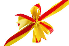 Red and yellow ribbon bow Stock Image