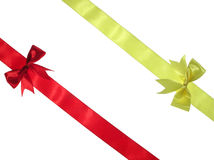 Red and yellow ribbons royalty free stock photos