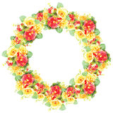 Red and yellow rose frame in the shape of circle Stock Photography
