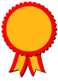 Red and Yellow Rosette Ribon. A blank award ribbon rosettes in two colors isolated on a white background Stock Image