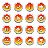 Red and yellow round buttons Stock Photo