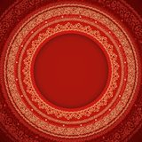 Red and yellow round frame with ornament (vector) Stock Photography
