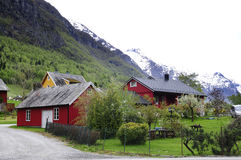 Red and Yellow Rural Norwegian Houses. Horizontal picture of a Norwegian scenic landscape, with small farm houses  - red and yellow buildings. Some snow in the Stock Photography