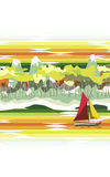 Red and yellow sails. The landscape. On the river floats sailing ship with red and yellow sails . On the shore of the beach ,followed by forest and mountains Royalty Free Stock Image