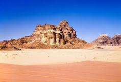 Red and yellow sands in Wadi Rum desert Royalty Free Stock Photography
