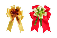Red and yellow satin bow on white background Stock Image