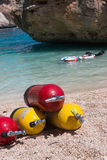 Red and Yellow Scuba Oxygen Tanks for Divers on a Beach Stock Photography